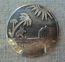 """3/4"""" Pin Brooch Pendant 1940's 50's Vintage Mexican Sterling Silver Large 1"""