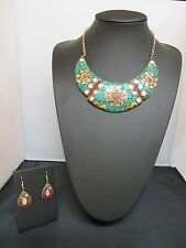 Indian Necklace And Earring Set Handmade Stones Authentic Ethnic Tribal