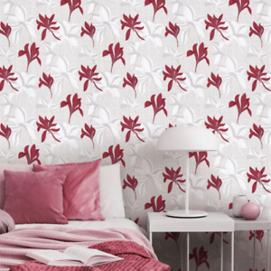 Luna 2 Red Floral Wallpaper on White and Silver Glitter Weave Texture 10241-06
