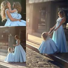 Neu Blau Mutter und Tochter Abendkleider Satin Ärmellos Ballkleider Partykleider