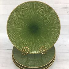Home TM China Green Tan Textured Lines Heavy Stoneware Large Dinner Plates Set 4