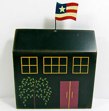 """4TH OF JULY SUMMER Americana Rustic Wood Cutout 9"""" Colonial Building USA Flag"""