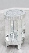 Mirrored side table with crushed diamond top, mirrored sparkle lamp table