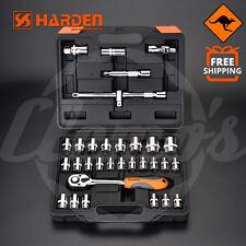 """32pcs Socket Set 1/2"""" Metric Drive Heavy Duty Quick Release Ratchet T-Bar Tools"""