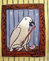 AFRICAN GREY PARROT bathroom 8x10  art PRINT animals artist gift new