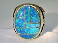 HUGE Fire Opal mens ring 13 Rare Sky Blue Silver 925 Thunderbirds Sterling 925 Z