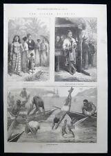 SCENES IN SINGAPORE & GALLE SRI LANKA ANTIQUE VICTORIAN PRINT 1872