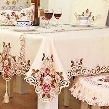 European Rustic Embroidered Tablecloth Lace Round Rectangle Party Table Covers