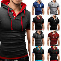 Men's Stylish Casual T-Shirts Slim Fit Muscle Short Sleeve Hoodie Tee Shirt Tops
