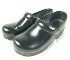 Dansko Women's WIDE Size 38 EU US 7.5 - 8 Black Leather Professional Clogs Shoes