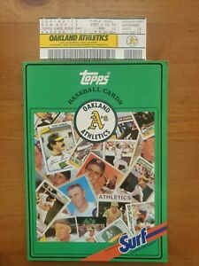 1988 Oakland A's Surf Topps Baseball Card Collectibles Book and Game Day Ticket!