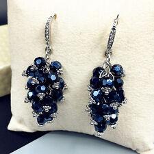 HUCHE Sapphire Gemstone 18K Silver & Gold Filled Women Lady Dangle Hook Earrings