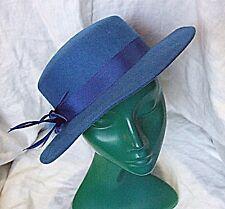 Azul Vintage Sombrero De Fieltro De Lana Clásico Chic Smart versátil pluma con cable de banda