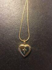 Childrens-Girl-Baby Yellow Gold Filled Cross Locket Heart Box Frame Pendant-K10
