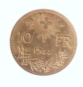 """10 Franken gold, """"Vreneli"""" 1915 verm. unc."""