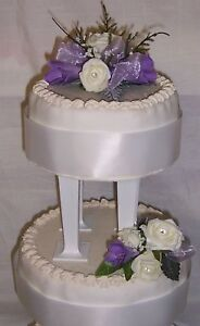 beautiful wedding flower ivory roses & lilac freesias cake 2 tier topper