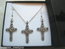*FILIGREE CROSS CHARM* Gift Set SP Necklace Earrings GIFT BOX Xmas Gift