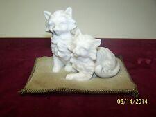 Antique Fine Bone China Quality Porcelain Cat Figurine sitting on Velvet Cushion