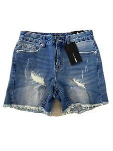 Fashion Nova Medium Blue Wash Distressed Denim Shorts Size 3