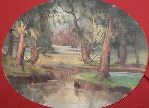 Antique Impressionist gouache painting forest landscape