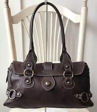 CLAUDIA FIRENZE Brown Pebbled Leather Slouch Satchel Shoulder Handbag Purse
