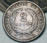 1864 Two Cent Piece 2C Ungraded Good Date Civil War Era US Copper Coin CC5762