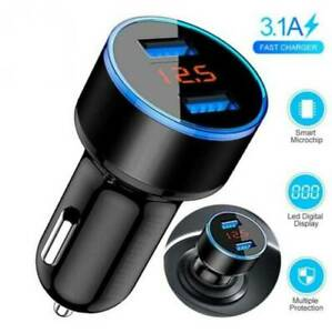 3.1A Dual USB Car Charger adapter 2Port LED LCD Display 12-24V Cigarette Socket