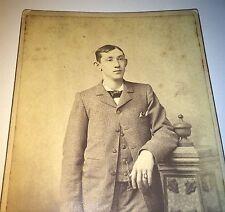 Antique Western Young American Man ID'd Ed Leonard! Topeka, Kansas Cabinet Photo