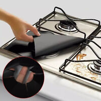 4Pcs Reusable Gas Stove Burner Cover Protector Liner Kitchen Cleaning Mat Pad HS