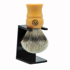 Luxury Silvertip Badger Shaving Brush Butterscotch Handle 24mm Knot Free Stand