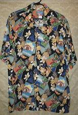 Men's L Reyn Spooner Joe Kealoha Hawaiian Shirt Postcards Hula Girls Pineapples