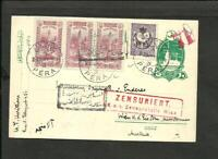 TURKEY 1917 CENSOR PTAL STATIONERY+4 STAMPS,TO AUSTRIA (WIEN) PERA CANCEL VF
