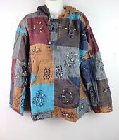 S-5XL Stonewashed Patchwork Hooded Boho Shirt Pullover Hippy Festival Kurta CS32