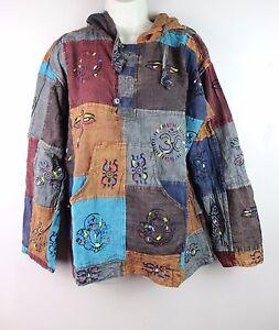 S-5XL Stonewashed Patchwork Hooded Boho Shirt Pullover Hippy Festival Kurta CS32