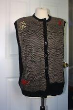 "Berek 46"" Chest 100% Wool Hand Knit Unique Abstract Sweater Vest Uruguay"