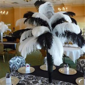 wholesale natural ostrich feathers 10-50-100pcs 6-26 inches/15-65cm Black white