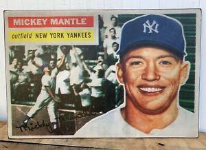 Rustic Print on Wood Huge 24x36 1956 Topps Mickey Mantle Baseball card !! WOW