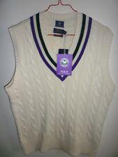 Ralph Lauren Wimbledon Ladies Sleeveless Cable Knit Jumper Cream New Size XXL