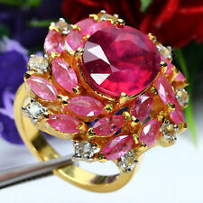 NATURAL HEATED MARQUISE PINK & BLOOD RED RUBY & WHITE TOPAZ RING 925 SILVER