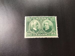 """JPS_Stamps! #147...""""Laurier and MacDonald, 12¢ green"""" (mint, light hinge)"""