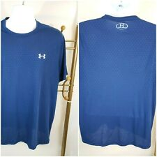 Under Armour Men's Heatgear Short Sleeve T-Shirt Blue w/small design Size Lg