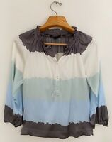BCBG MAX AZRIA Silk Stretch Top Sz S Blue Gray Green Blouse Long Sleeve