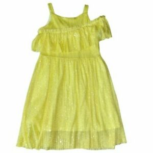 NWOT Zara Yellow Sequins Cold Shoulder Ruffles Holiday Birthday Party Dress 9
