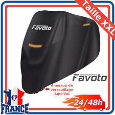 Housse Bâche de Moto Couverture Protection Étanche Anti UV Pluie Boucle Noir XXL