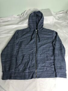 New H&M Zip Up Hoodie Hoody Athletic Mens XL Hipster Workout Soft Blue Jacket