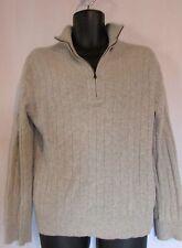 Banana Republic Beige Zip Neck Long Sleeve 100% Cashmere Sweater Mens Medium
