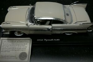 1958 Plymouth Fury  National Motor Mint 1:24 Scale Die Cast w/COA