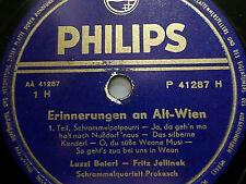 """LUZZI BAIERL & FRITZ JELLINEK """"Erinnerungen an Alt-Wien"""" Philips 78rpm 10"""""""