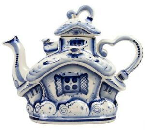 1.1-qt House Shaped Gzhel Porcelain Teapot w/ Blue Artwork. Authentic Signed