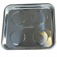 """Magnetic Parts Tray Square 10"""" Storage Holder Stainless Steel 4 Magnets Bergen"""